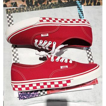 VANS Old Skool Trending Women Men Casual Stylish Red Checkerboard Sole Canvas Sneakers Sport Shoes I-A36H-MY