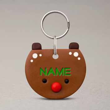 Reindeer Pet ID Tag - Pet Name Tag, For Cats Dogs, Christmas Pet Accessories