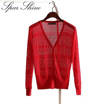 2016 Ladies Knitting Lace Crochet Long Cardigan Feminino Summer Autumn  Knitted Sweater Women Cardigan Female Korean Style