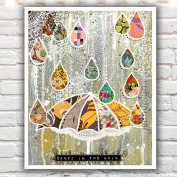 dance in the rain - raindrop art, fine art print, 40 works in 40 days, mixed media painting, colorful yellow and gray decor,