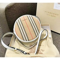 Burberry Fashion New Plaid Leather Shopping Leisure Shoulder Bag Women White