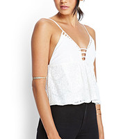 FOREVER 21 Caged Lace Cami Cream