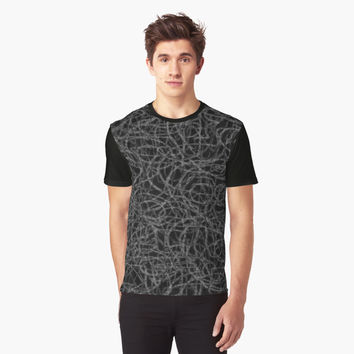 'Black and white scribbled lines pattern' Graphic T-Shirt by steveball