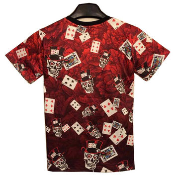 New Fashion men&'s 3D t-shirt funny printed smoking skull poker means Gambling is death top tees 3d