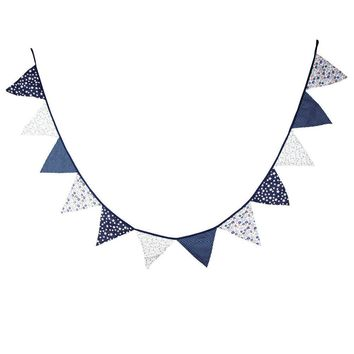 Fabric Bunting Banner Nursery Navy Blue Star Flags Bunting, Photography Prop Cotton Fabric Banners  Boys Baby Shower Garland