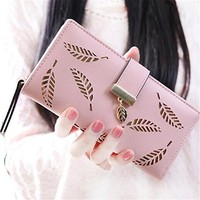 Women's Long Leaf Wallet Leather Card Holder Purse Handbag with Zipper