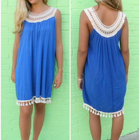 Edisto Island Royal Blue Sleeveless Crochet Detail Tassel Shift Dress