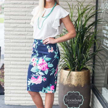 Pop of Floral Pencil Skirt