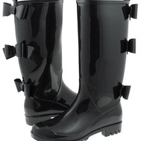 Capelli New York Shiny Solid Opaque Jelly Rain Boot Black 7