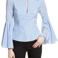 Milly Tie Back Stripe Peplum Top | Nordstrom