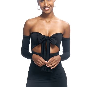 Contemporary Self-Tie Cutout Off-the-Shoulder Mini Dress