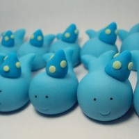 Party Hat Whales Set of 12- Cupcake or Cake Toppers for Birthdays, Baby Showers, and more