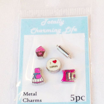 Baking Baker 5pc Floating Charm Set fits Living Memory Foating Locket Necklace Jewelry