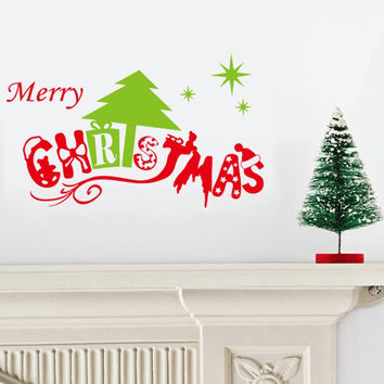 merry christmas tree wall stickers christian room decorations 25. diy vinyl xmas home decals festival mual art posters 5.0 SM6