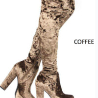 Contrast Velvet Thigh High Boot PAW-27