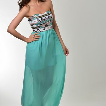 Style Rack Mint Green Maxi Dress with Sequin Tribal Design