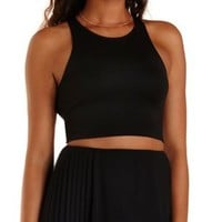 Black Caged Back Sleeveless Crop Top by Charlotte Russe