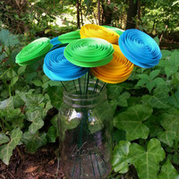 12 Paper Flowers in Aqua, Yellow and Lime Green - Handmade Paper Flowers for Brides, Weddings, Showers, Birthdays