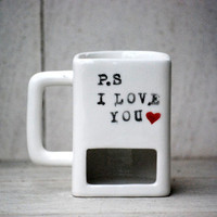 Dunk Mug - Ceramic Cookie and Milk Mug,  p.s i love you, valentines day gift