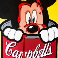 """Mickey Mouse Limited Edition PRINT Pop Art """"Mickey in Campbells"""""""