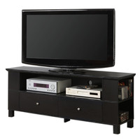 60 in. Wood TV Console with Multi-Purpose Storage - Black