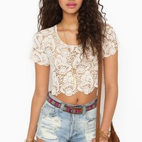 Crochet Crop Top - Cream