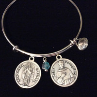 Saint Peregrine Archangel Raphael Charm with Prayer on Back Silver Expandable Inspirational Jewelry Adjustable Bracelet