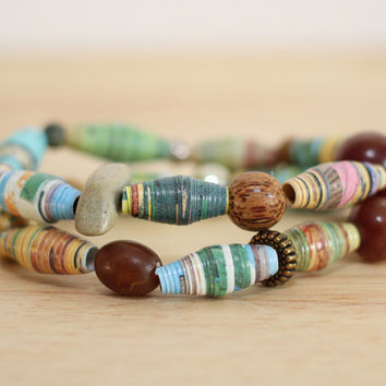 2 Recycled Paper Bead Bracelet, Handmade With Book Pages, Desert Giant, The Saguaro Cactus