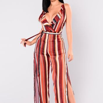 Candid Stripe Jumpsuit - Burgundy