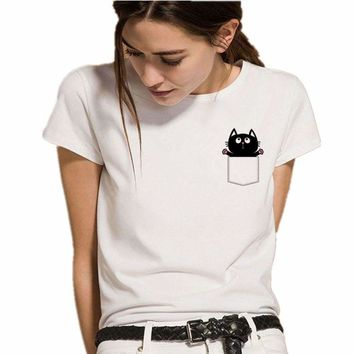 Cat in Pocket Graphic Printed Fashion Women T Shirt Top Tee