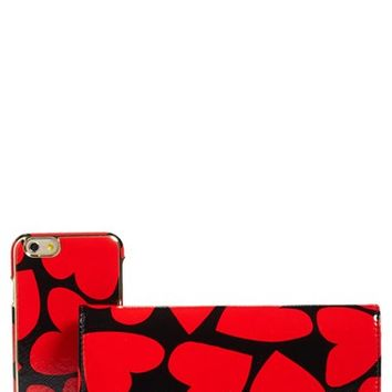 kate spade new york scattered hearts iPhone 7 leather wallet | Nordstrom