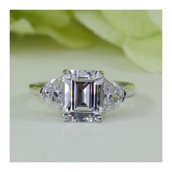 3.00 Ct. Emerald Cut Three-Stone Cubic Zirconia Ring In Sterling Silver