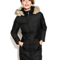 DKNY Hooded Faux-Fur-Trim Quilted Long-Length Down Coat