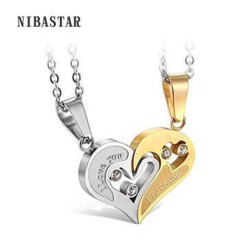 316L Stainless Steel Mens Womens Couple Necklace Friendship Puzzle CZ Love Matching Heart Pendants