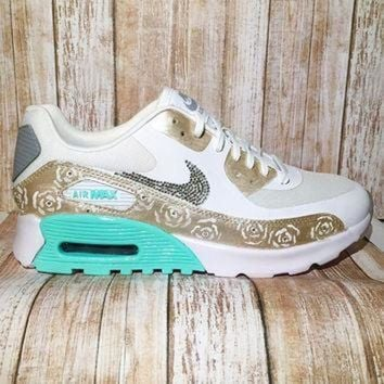 detailed look fd309 66250 Bling nike air max 90 - custom painted nike shoes - bling nike s