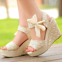 Summer Womens Sweet High Heel Wedge Platform Sandals Bowknot Ankle Shoes Beige = 1932127876