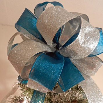 Large Teal Shimmer and silver Glitter Christmas Tree topper bow