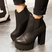Hot Deal On Sale Dr. Martens Winter Sexy High Heel Round-toe Waterproof Boots [120849629209]