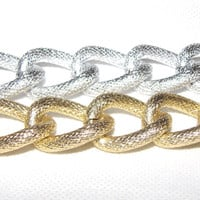 Faux Pave Textured Chunky Curb Chain Silver or Gold Plated - sold per foot (12 inches)