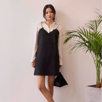 Velvety Lace Hem Singlet Dress