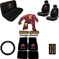 Iron Man Marvel Comics Auto Accessories Interior Combo Kit Gift Set - 15PC