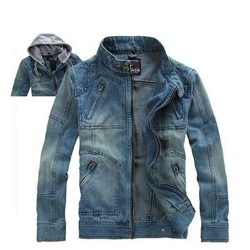 Men's Casual Denim Jackets hoodies,autumn overcoat,outwear, winter jeans jacket men, Men's Coat