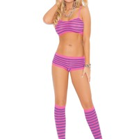 Three piece set Striped booty shorts, cami top and knee hi's  Neon Pink/Neon Purple