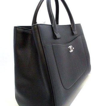 Auth CHANEL Shopping bag large A69931 Black Gradient calfskin Tote Bag