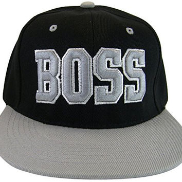 Boss Adjustable OSFA Flat Bill Snapback Baseball Hat Cap Gray with Script on Brim