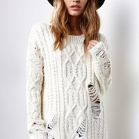 J.O.A. Cable Knit Destroyed Sweater - Womens Sweater - White - Medium