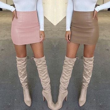 *online exclusive* leather mini skirt