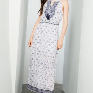 Women's Printed A-Line Maxi Dress with Embroidery