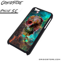 Galaxy Nebula Floral Skull Flower Case For Iphone 5C Case