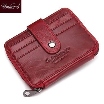 CONTACT'S Genuine Leather Women Credit Card Holder Wallet Lady Cowhide Small Purse Brand Female Credit&Id Car Purse Coin Pocket